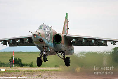 Sukhoi Photograph - A Sukhoi Su-25k Takes Off From Bezmer by Anton Balakchiev