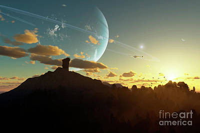 A Sunset On A Forested Moon Which Art Print by Brian Christensen