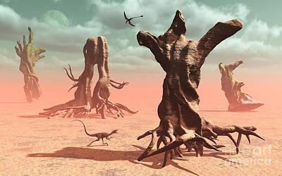 Tree Roots Digital Art - A Surreal Look At A Petrified by Mark Stevenson