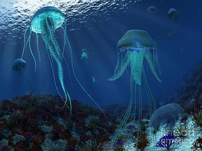 Poisonous Digital Art - A Swarm Of Jellyfish Swim by Walter Myers