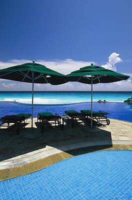 A Swimming Pool Overlooks The Caribbean Art Print