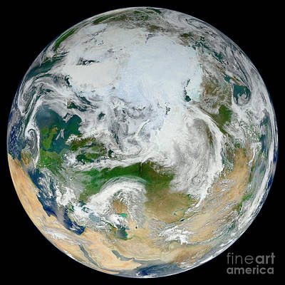 Photograph - A Synthesized View Of Earth Showing by Stocktrek Images