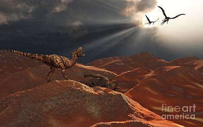 Carcass Digital Art - A T. Rex And A Pair Of Quetzalcoatlus by Mark Stevenson