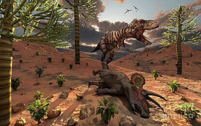 Carcass Digital Art - A T-rex Comes Across The Carcass by Mark Stevenson
