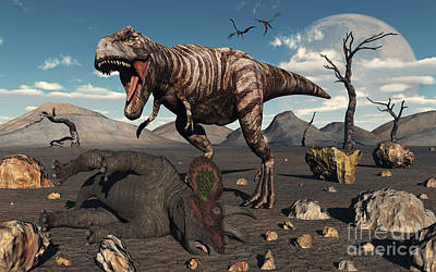 Carcass Digital Art - A T. Rex Is About To Make A Meal by Mark Stevenson