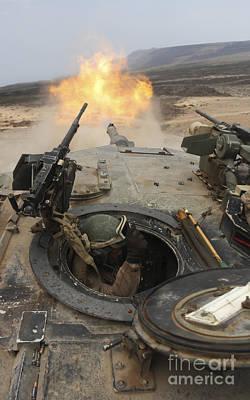 A Tank Crewman Braces Himself Art Print