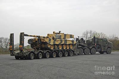 A Tank Transporter Hauling A Challenger Art Print