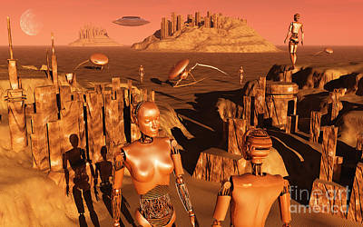 Ancient Civilization Digital Art - A Team Of Robots Gather The Last by Mark Stevenson