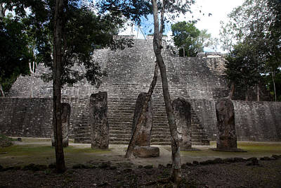 Stela Photograph - A Temple At The Mayan Ruins Of Calakmul by Michael &Amp Jennifer Lewis