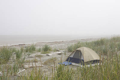 Queen Charlotte Islands Photograph - A Tent Sits In The Dunes By The Beach by Taylor S. Kennedy