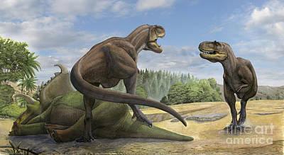 Carcass Digital Art - A Teratophoneus Dinosaur Defends by Sergey Krasovskiy