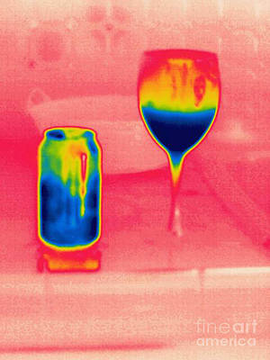 Soda Can Photograph - A Thermogram Of Cool Wine And Cool Soda by Ted Kinsman