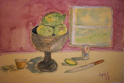Fruit Bowl Window Painting - A Time For Limes by Spencer  Joyner