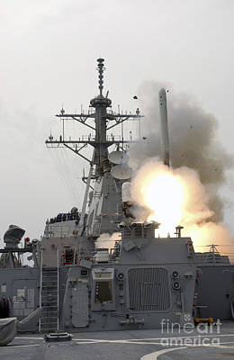 Photograph - A Tomahawk Missile Launch Aboard Uss by Stocktrek Images