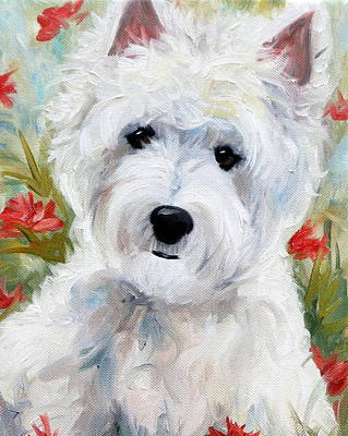 White Dog Painting - A Touch Of Spring by Mary Sparrow