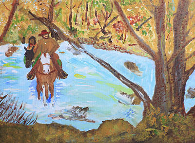 A Trapper And His Indian Lady Crossing A Stream Art Print