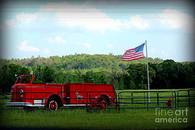 Art Print featuring the photograph A Tribute To The Fireman by Kathy  White