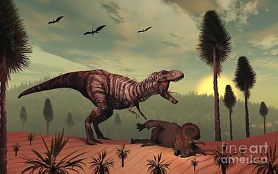 Carcass Digital Art - A Triceratops Falls Victim by Mark Stevenson