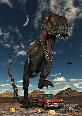 Stomp Digital Art - A Tyrannosaurus Rex About To Crush by Mark Stevenson