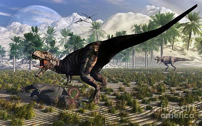 Carcass Digital Art - A Tyrannosaurus Rex Guards Its Meal by Mark Stevenson