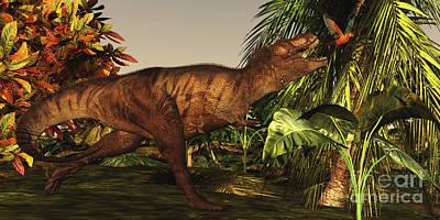 Macaw Digital Art - A Tyrannosaurus Rex Runs by Corey Ford