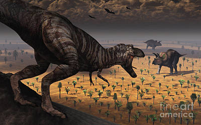 A Tyrannosaurus Rex Spots Two Passing Art Print by Mark Stevenson