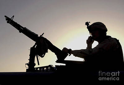 A U.s. Soldier Talks On A Hand Mike Art Print by Stocktrek Images