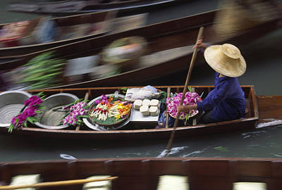 A Vendor With Flowers And Other Goods Art Print