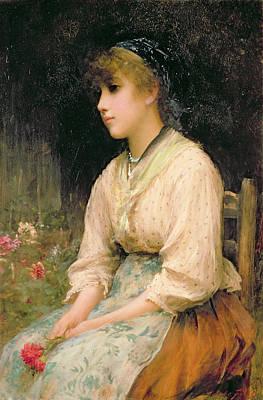 Contemplative Painting - A Venetian Flower Girl by Sir Samuel Luke Fildes