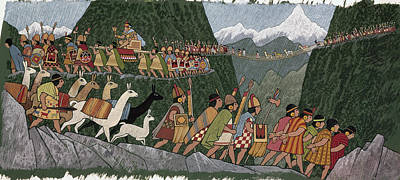 A Victorious Inca Emperor And His Army Art Print
