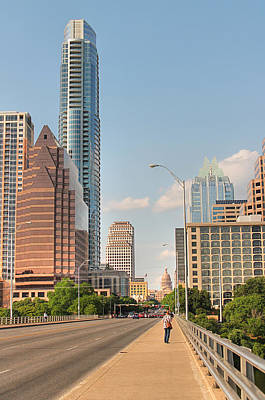 Frost Bank Building Photograph - A View Down Congress Street Austin Texas by Sarah Broadmeadow-Thomas