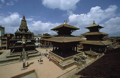 Religious Characters And Scenes Photograph - A View Of Durbar Square Showing by James P. Blair
