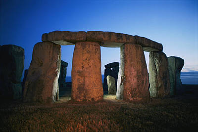 A View Of Stonehenge Silhouetted Art Print by Richard Nowitz