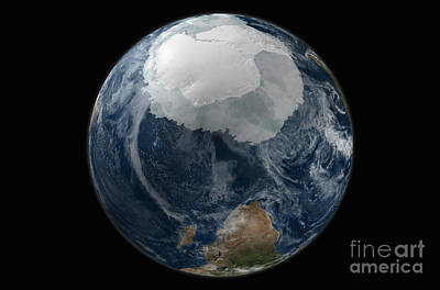 Terrestrial Sphere Photograph - A View Of The Earth With The Full by Stocktrek Images