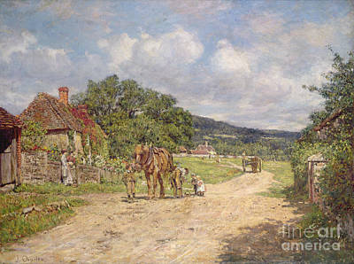 Village Scene Painting - A Village Scene by James Charles
