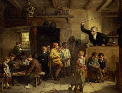 Discipline Wall Art - Painting - A Village School by William III Bromley