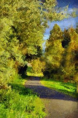 Impressionistic Landscape Digital Art - A Walk Amongst Nature by Georgiana Romanovna