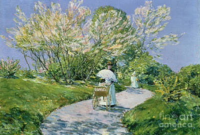 Trees Blossom Painting - A Walk In The Park by Childe Hassam
