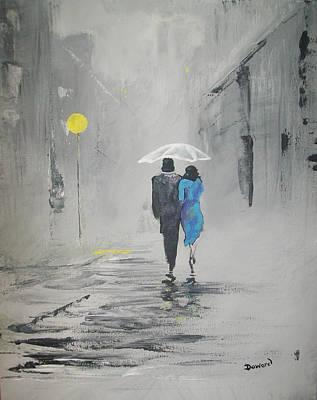 A Walk In The Rain Art Print by Raymond Doward