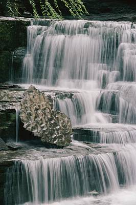 A Waterfall And Sculpted Rock In Robert Art Print by Skip Brown