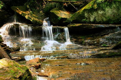 Photograph - A Waterfall Trio At Mcconnells Mill State Park by Angela Rath