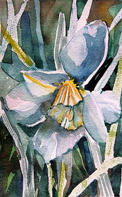 Spring Bulbs Painting - A Weepy Daffodil by Mindy Newman