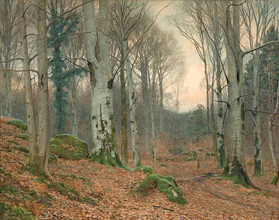 Copse Painting - A Welsh Wood In Winter by JT Watts