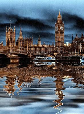 Storm Digital Art - A Wet Day In London by Sharon Lisa Clarke