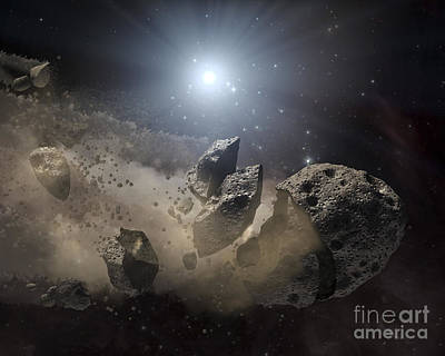 Planetoid Digital Art - A White Dwarf Star Surrounded by Stocktrek Images