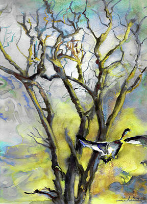 Painting - A Wild Goose In Winter by Miki De Goodaboom