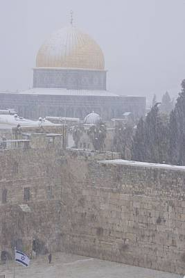 Muslims Of The World Photograph - A  Winter Storm Dusts Jerusalems Golden by Michael Melford