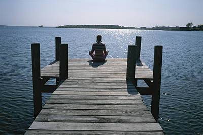 Docks Etc Photograph - A Woman In A Yoga Pose At The End by Taylor S. Kennedy