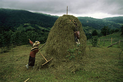 Etc. Photograph - A Woman Rakes Around A Haystack by Randy Olson