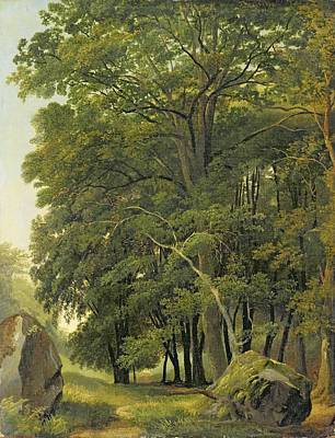 A Wooded Landscape  Art Print by Ramsay Richard Reinagle